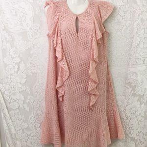 Roz & Ali mauve lace midi dress sz L ruffle sleeve